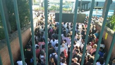 The crowds at Malvern station on Monday afternoon after trains were suspended.