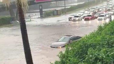 Flooding on James Ruse Drive at Parramatta on February 8.