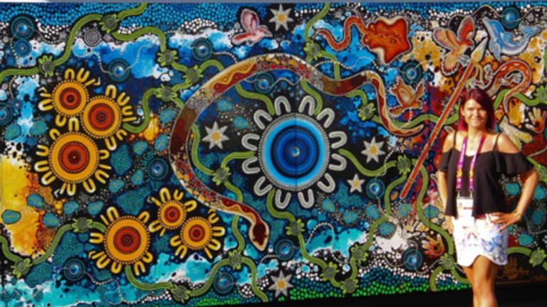 Queensland artist Chern'ee Sutton with her work.