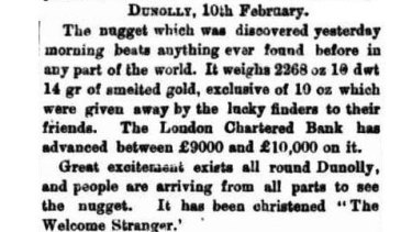 First report of the find in The Age, February 11, 1869.