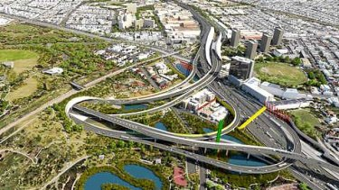 An artist's impression of the East West Link where it would connect with CityLink in Parkville.