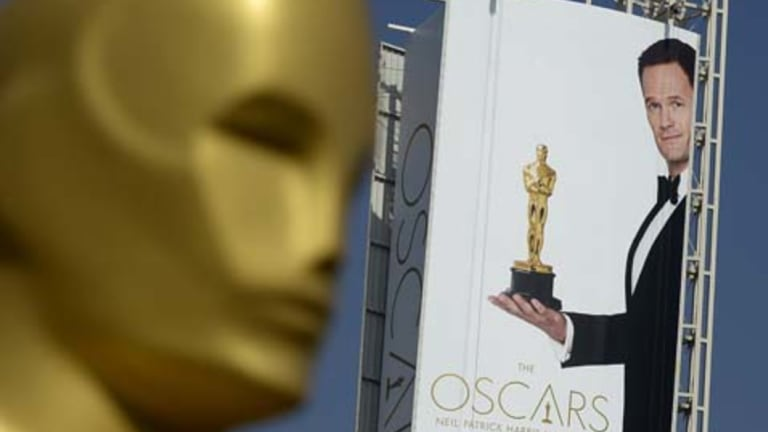 Oscar stands watch outside the Dolby Theater in Hollywood.