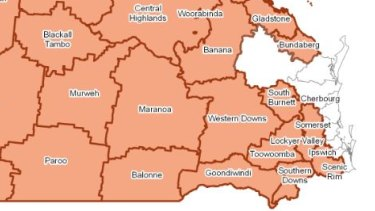 How close the drought is to Brisbane in July 2019. Drought-declared councils are marked in orange.