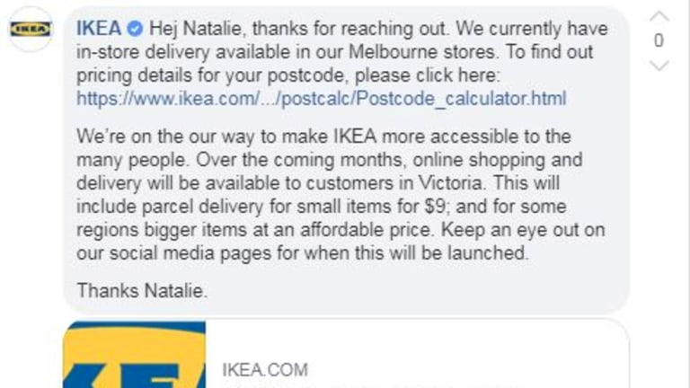Ikea tells customers on Facebook it's expanding delivery.