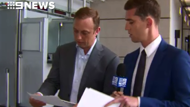 Health Minister Steven Miles confronted by Nine with the leaked email.