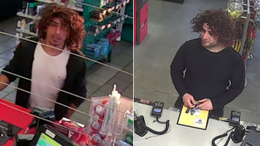 Two men police wish to speak to over the Bulleen home invasion. Pictured here wearing wigs.
