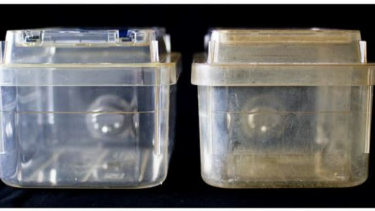 An undamaged cage, left, and a degraded cage, right, from the research lab.