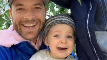 Hamish Blake with children Rudy and Sonny.