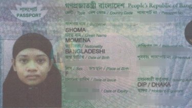 "Passport photo of Momena Shoma, a 25-year-old Bangladeshi woman accused of an ""Islamic State-inspired"" stabbing in Mill Park."