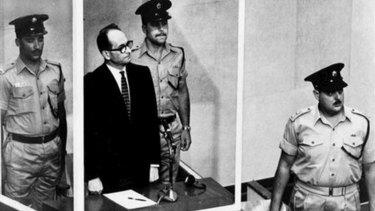 Nazi war criminal Adolf Eichmann in the dock in Israel.