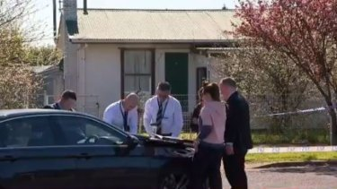 Detectives at the scene on Wednesday.