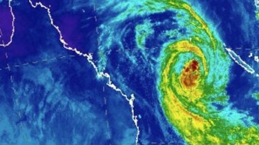 The swirl of Cyclone Oma, as shown on satellite images on Thursday morning.