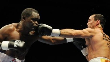 Classic fight: Azumah Nelson and Jeff Fenech slug it out in 2008.