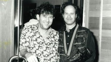 Jimmy Barnes, left, and his long-time promoter, Michael Gudinski, in the 1990s.