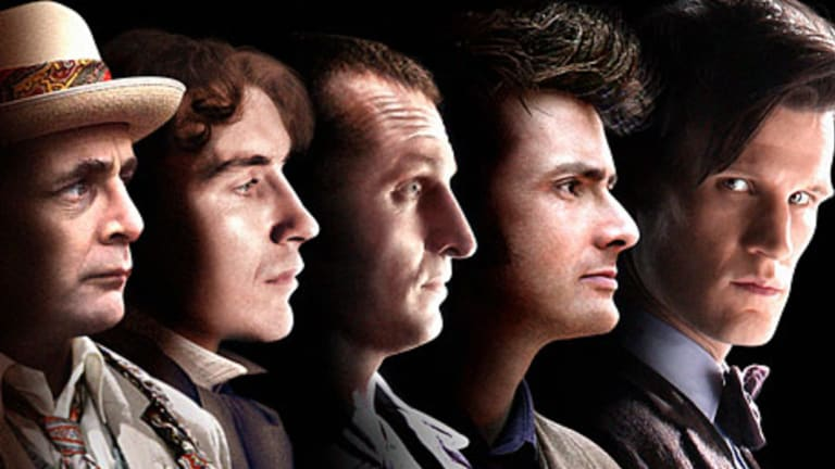 Christopher Eccleston (centre) and Matt Smith (far right) as the ninth and eleventh Doctors Who.