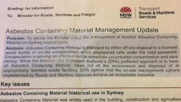 Briefing note for former roads minister Melinda Pavey about asbestos management on Sydney Road Projects.