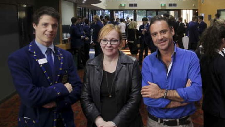 Tracy McLeod Howe at a Waverley College anti-violence against women event with school captain Oscar Osborne and TV host Andrew O'Keefe.