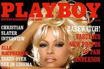 """Pamela Anderson on the front cover of Playboy Magazine. The coronavirus was the """"last straw"""" for the publication."""