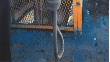 A noose left at Pinto Valley Mining's Arizona work site.