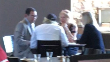 IBAC investigators secretly took this picture of City of Casey councillor Sam Aziz, developer John Woodman,Liberal-linked lobbyist Lorraine Wreford and planning consultant Megan Schutz at the Sandhurst club on March 22, 2018.