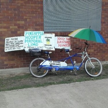 Chris Hooper is often seen riding around Rockhampton on his bike.