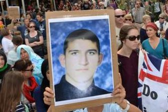 A picture of Reza Berati at a rally for asylum seekers' rights.