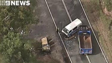 The aftermath of a crash on the Beaudesert-Beenleigh Road at Tambourine.