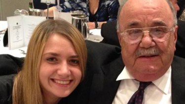 Courtney with her Pappou, her late grandfather, whom she will be buried with.