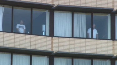 Guests inside the Holiday Inn at Melbourne Airport on Wednesday morning before they were evacuated.