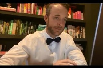 Hamish Blake brings a bit of fun to video conferencing lockdown-style.
