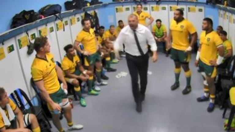 Spray it again: Michael Cheika tears into his players at half-time.