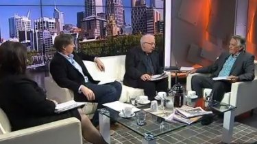 Barrie Cassidy and his guest pundits on the set of <i>Insiders</i>.