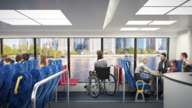 The ground floor of the new CityCat has near floor-to-ceiling glass in the central section.