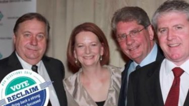 A picture from Cameron Wright's ticket's Facebook page showing Brian Parkinson, left, with former PM Julia Gillard and others. Mr Wright is not in the picture.