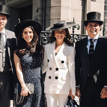 From left: Nadia Fairfax, Nick Adams and friends before Royal Ascot 2018.