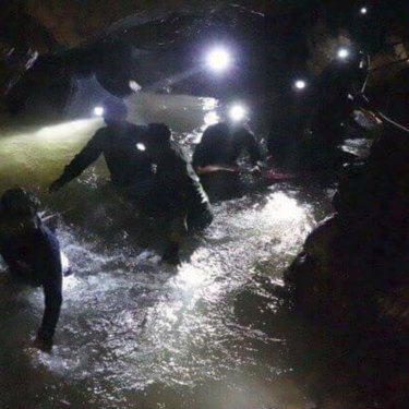 Thai rescue teams head deep inside the Tham Luang cave complex looking for the missing Wild Boars players and their coach.