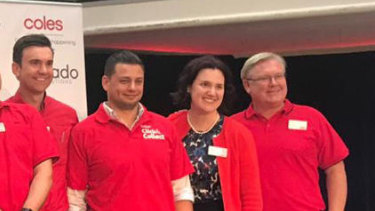 Aaron Baslangic (third from the right), with Coles' CEO Steven Cain (far right), chief financial officer Leah Weckert (second from right) and Coles Online CEO Alister Jordan at the launch of Coles' partnership with online grocer Ocado in March.