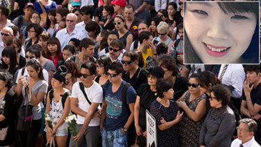 Crowds gathered at a ceremony for Eunji Ban in 2013.