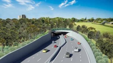An artist's impression of the entrance to the first stage of the F6 Extension at President Avenue at Kogarah.