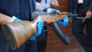 A SKS assault rifle similar to what police seized on Easter Monday.
