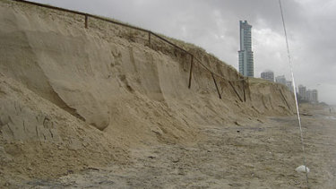 Erosion of a Gold Coast beach is seen in a photograph taken by Gold Coast City Council.
