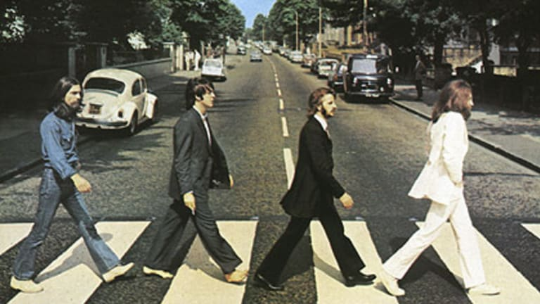The burger joint pays homage to The Beatles, seen here walking along London's Abbey Road.