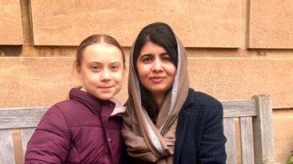 'The only friend I'd skip school for': Greta meets Malala