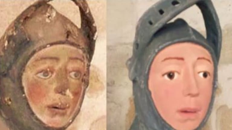 Before and after of the St George statue at St. Michael's Church in Estella, Spain.