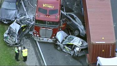 The scene of the crash on the Monash Freeway.