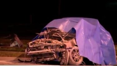 One of the cars at the scene after the crash.