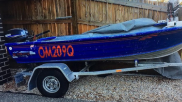 Water police and other agencies are searching for this boat in Moreton Bay, off Brisbane.