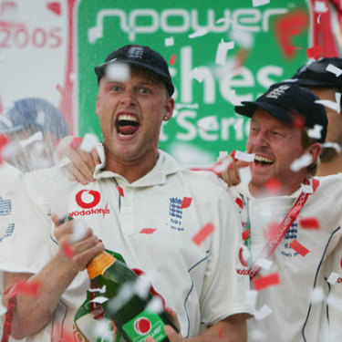 Andrew Flintoff celebrates winning the 2005 Ashes series with England teammates.