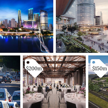Five big-ticket projects with price tags: Queen's Wharf casino development, Eagle Street Pier revitalisation, Kingsford Smith Drive upgrade, Howard Smith Wharves, and the new cruise ship terminal.
