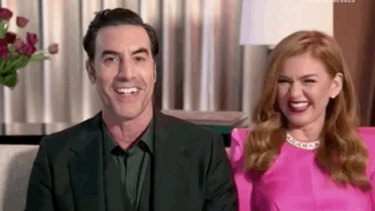 Sacha Baron Cohen and Isla Fisher at the virtual 2021 Golden Globes.